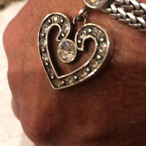 Brighton Jewelry - Brighton sliver and rhinestone heart bracelet